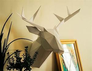 Trophée Animaux Origami : diy t te de cerf touben 39 s cr ations ~ Teatrodelosmanantiales.com Idées de Décoration