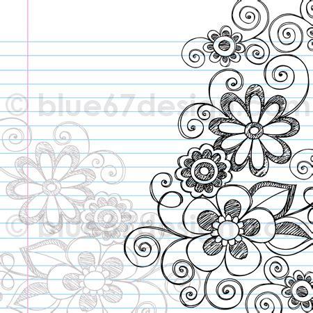 Handdrawn Sketchy Notebook Doodle Flower Page Border Vec
