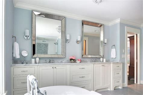 ivory  blue bathroom  beaded beveled mirrors