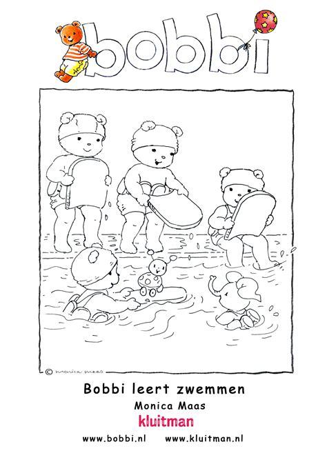kleurplaat bobbi leert zwemmen  uitgeverij kluitman