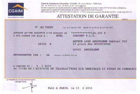 Fonds De Commerce Et Transaction Sur Attestation Cgaim De Garantie Transaction Sur Immeubles