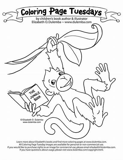 Monkey Coloring Pages Hanging Dulemba Reading Howler