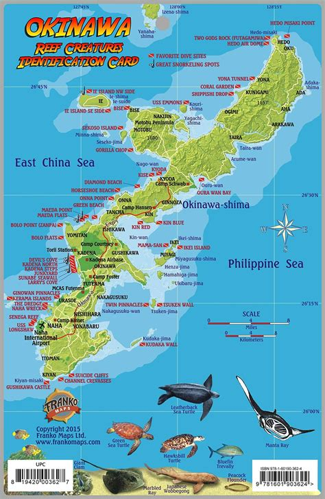 okinawa japan dive map reef creatures guide franko maps