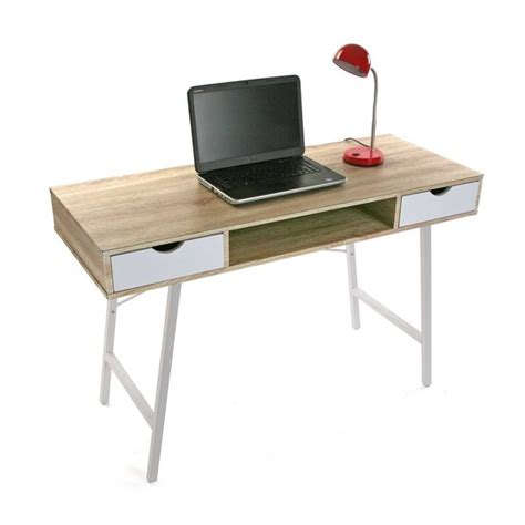 table bureau bois table de bureau scandinave bois et metal blanc versa