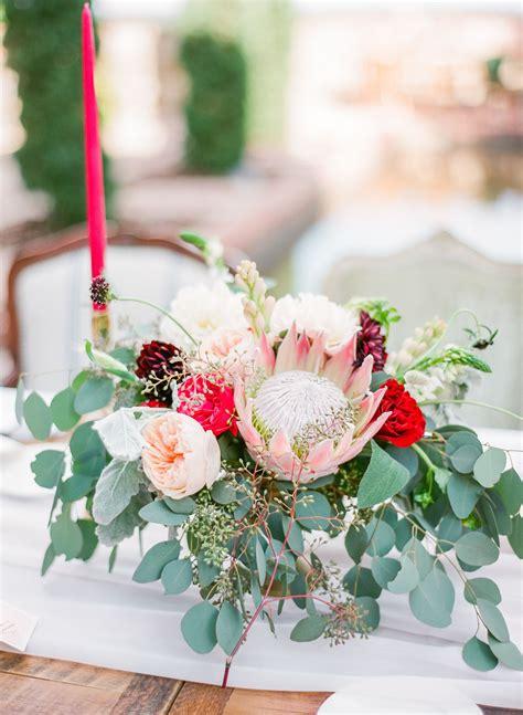 King Protea Garden Rose And Eucalyptus Centerpieces Our