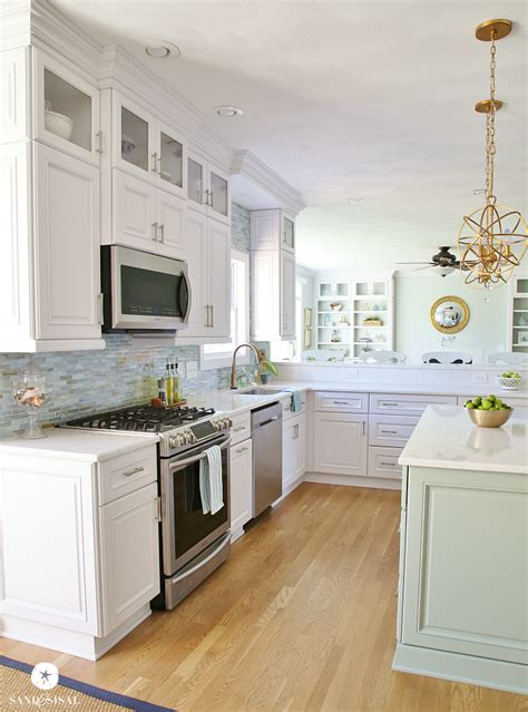 gold kitchen faucet coastal kitchen makeover the reveal