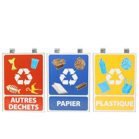 poubelle de tri selectif cuisine panneaux pour tri sélectif lot de 3