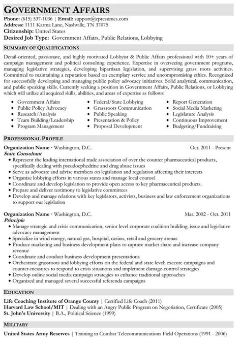Create Free Resumes by Government Affairs Resume Sle Resumes Resume