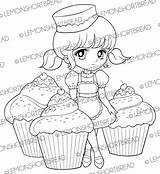 Cupcakes Coloring Digi Digital Pages Cute Desserts Baking Delight Stamp Colouring Pastry Stamps Shortbread Bakery Lemon Etsy Supplies Clip sketch template