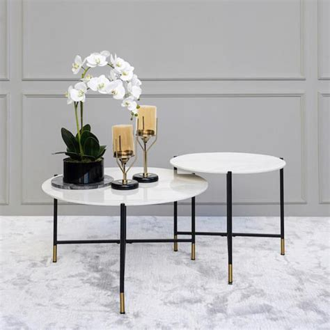 Buy living room coffee tables set of 3, round nesting tables with white marble and gold metal iron base, nest of 3: Rococo White Marble Nesting Coffee Tables, Round - FINN AVENUE
