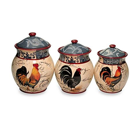 rooster canisters kitchen products certified international lille rooster 3 canister set