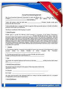 free printable co op promotional agreement form generic With free legal documents to print
