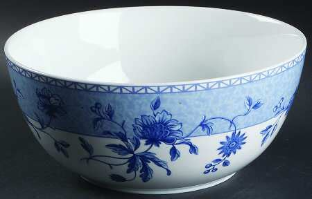 blue bouquet salad serving bowl wedgwood mikado blue flowers at replacements ltd