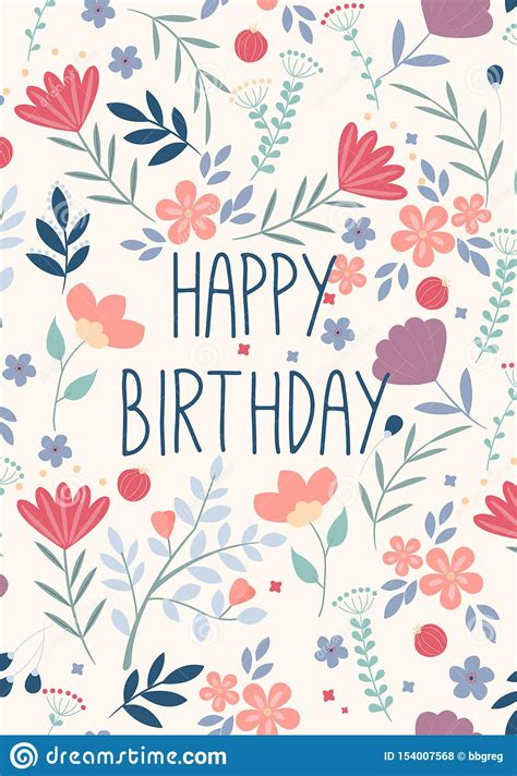 Beautiful Happy Birthday Greeting Card With Flowers
