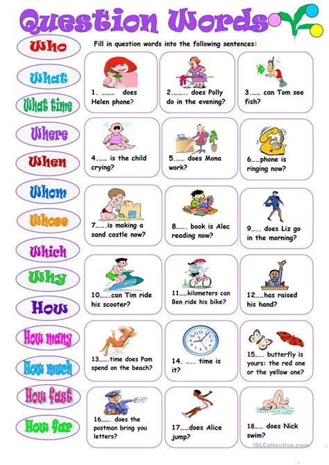question words worksheet  esl printable worksheets