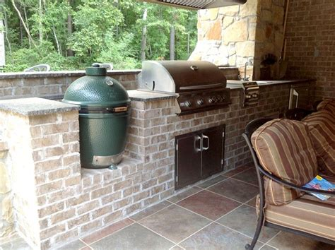 Brick Outdoor Kitchen With Green Egg Smoker And Stainless