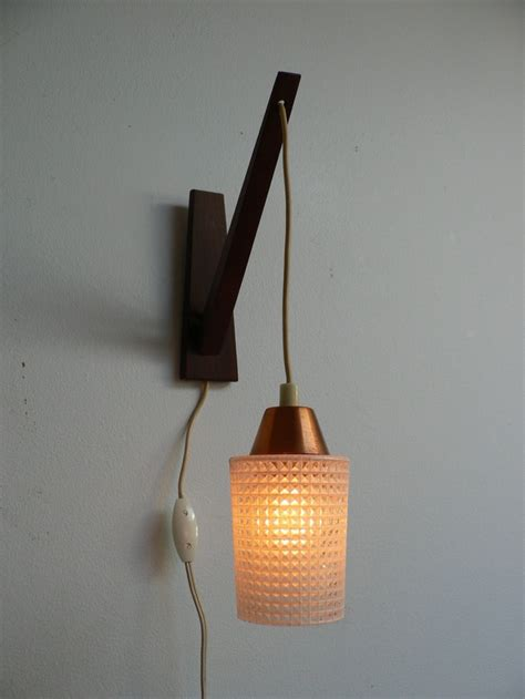 1950s modern wood swag pendant light mid century