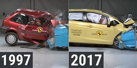 crash test si鑒e auto ncap shows the difference in car crash testing 20 years on business insider