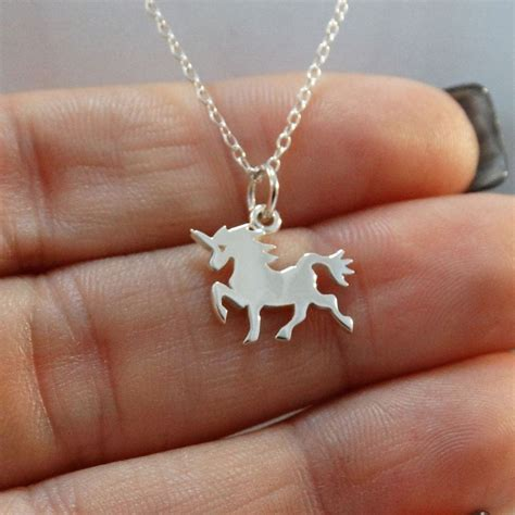 tiny unicorn necklace  sterling silver fantasy