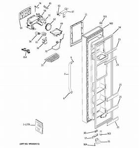 Freezer Door Diagram  U0026 Parts List For Model Gss25qswjss Ge