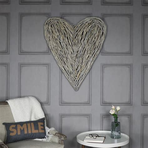 extra large rustic wicker wall mountable heart melody maison 174