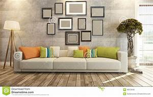 Interior design with frames on concrete wall 3d rendering for Interior design wall of frames