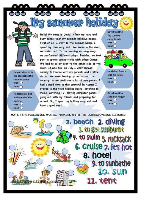 My summer holiday | Holiday worksheets, Summer vocabulary ...