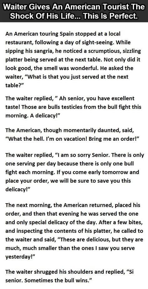 waiter   american tourist  shock   life