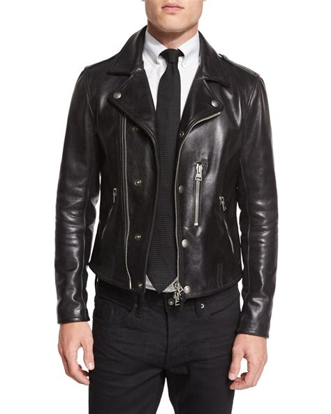 tom ford leather tom ford asymmetric leather biker jacket in black for lyst