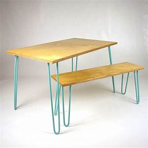 dining set with industrial hairpin legs in plywood by cord