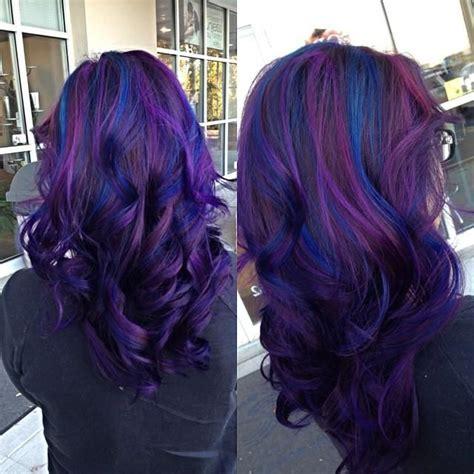 Deep Purple And Midnight Blue Curls Hair Colors Ideas