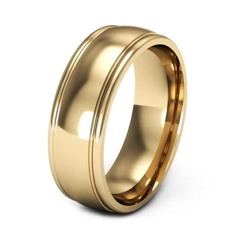 yellow gold wedding rings for men with grove edges   iPunya