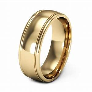 Yellow gold wedding rings for men with grove edges ipunya for Wedding gold rings for men