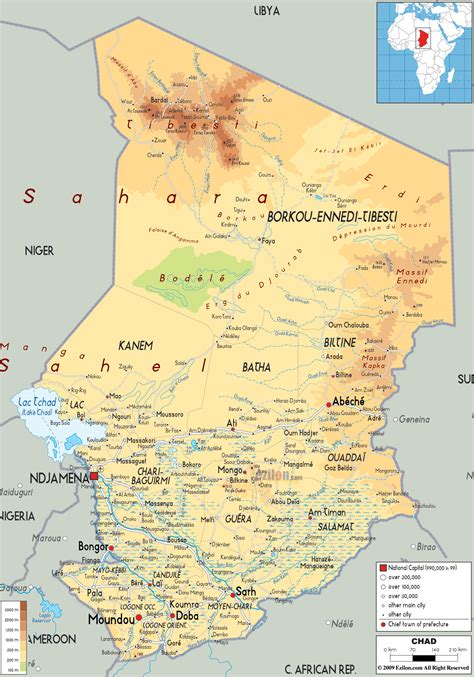 Physical Map Of Chad  Ezilon Maps