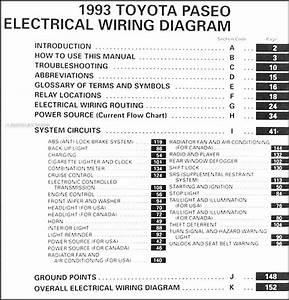 1993 Toyota Paseo Electrical Wiring Diagram Manual 93 New