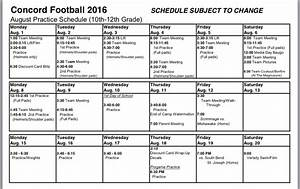 football concord minutemen concord high school sports With football practice schedule template