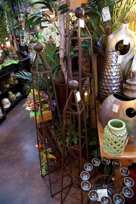 set   dark brown metal topiary forms  geometric