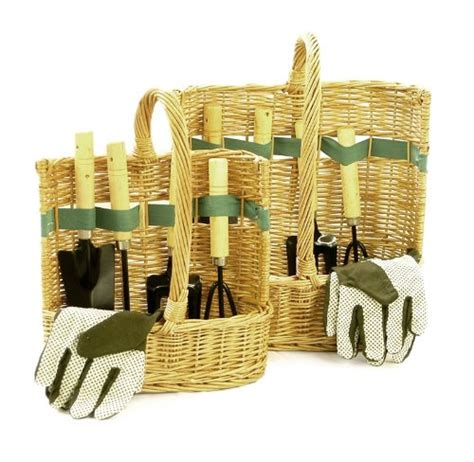 his hers garden tool baskets with tools gloves