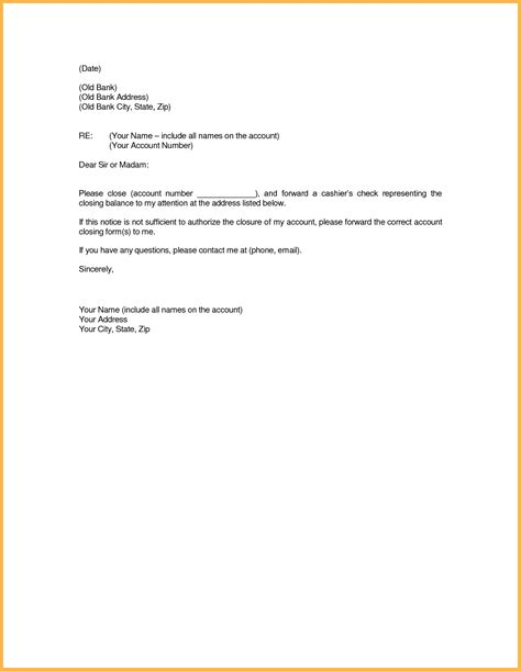 sample application letter closing bank account sample