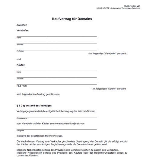 domain kaufvertrag zum ausdrucken kostenlose vorlage