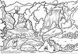 Waterfall Coloring Pages Landscape Scene Waterfalls Nature Print Printable Mountain Adults River sketch template