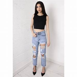 High Waisted Ripped Boyfriend Jeans - Is Jeans