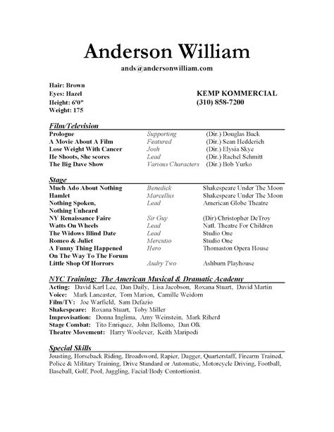 How To Make A Resume For Acting by Hey R Acting How Would You Recommend Improving My Cv