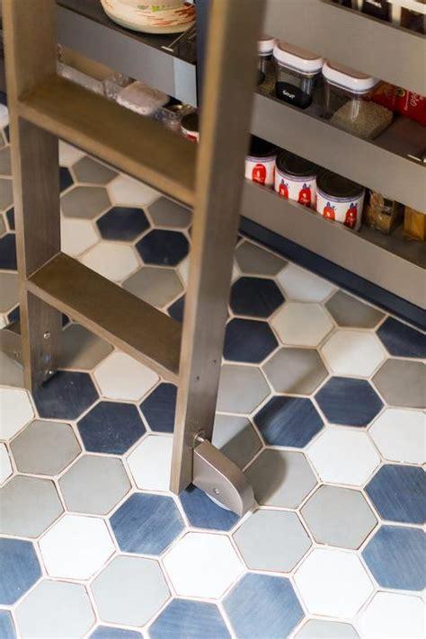 blue  gray hexagon pantry floor tiles transitional