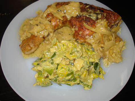 recette de cuisine lapin poulet à la moutarde et sa fondue de poireaux au curry