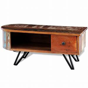 Natural wood reclaimed solid wood coffee table with iron for Wood coffee table with iron legs