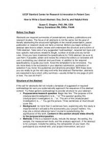 How to Write a Good Abstract Examples