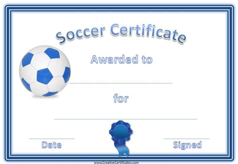 printable soccer award certificates