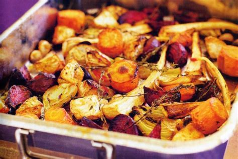 roasted root vegetables  fennel garlic thyme
