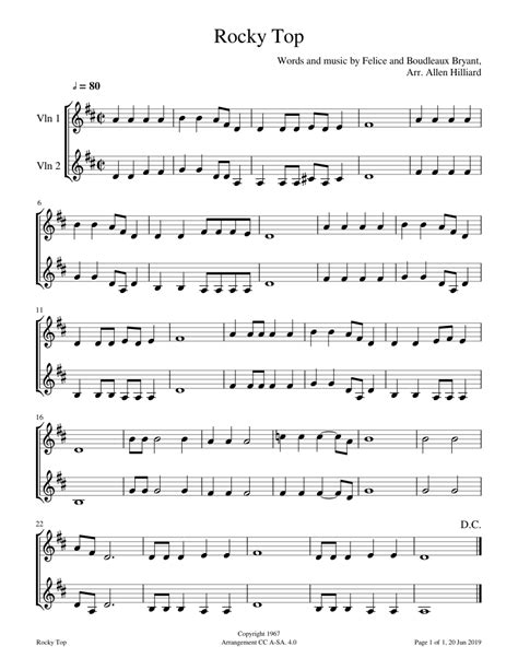 Easy violin notes for beginners. Rocky Top sheet music for Violin download free in PDF or MIDI